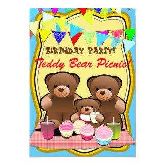 Tarjeta Fiesta de los niños de la comida campestre del oso