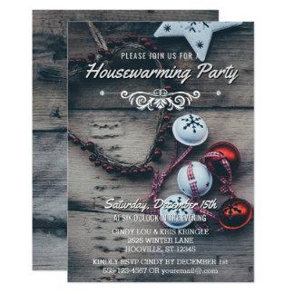 Tarjeta Fiesta de madera rústico del estreno de una casa