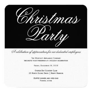 Tarjeta Fiesta de Navidad blanco y negro elegante de la