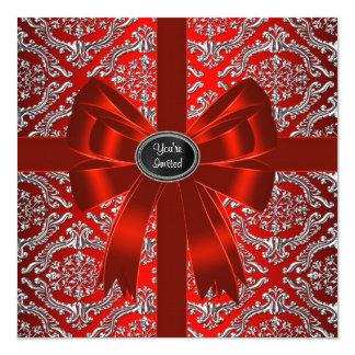 Tarjeta Fiesta de Navidad corporativa del damasco rojo de
