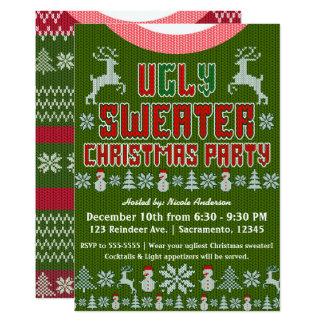 Tarjeta Fiesta de Navidad de punto fea del suéter roja y