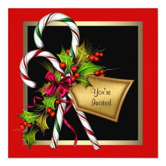 Tarjeta Fiesta de Navidad del rojo del acebo del bastón de