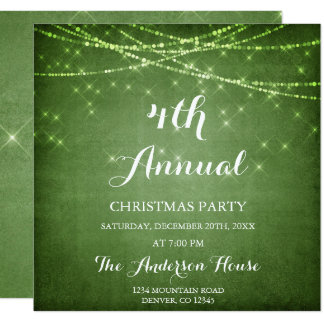 Tarjeta Fiesta de Navidad verde de la publicación anual de
