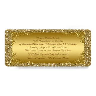 Tarjeta Fiesta de oro del boleto del brillo del oro