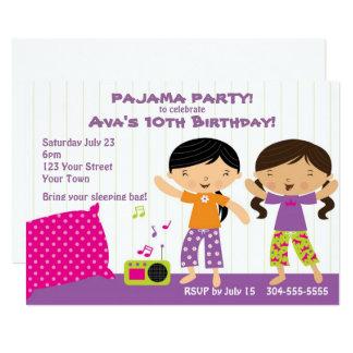 Tarjeta Fiesta de pijama para los chicas