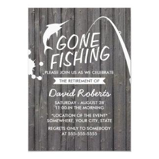 Tarjeta Fiesta de retiro de madera pesquero ido del fondo