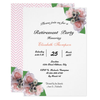 Tarjeta Fiesta de retiro floral romántico de tres rosas