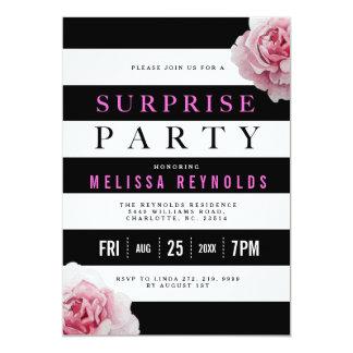 Tarjeta Fiesta de sorpresa blanco y rosado negro de los