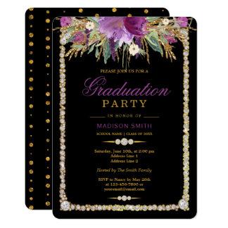 Tarjeta Fiesta del graduado de los diamantes de las flores