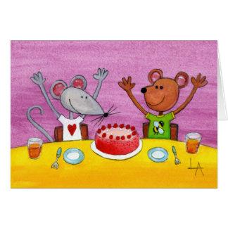 Tarjeta Fiesta del ratón y del oso