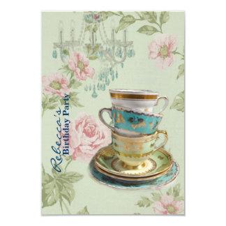 Tarjeta fiesta del té francesa del cumpleaños del jardín