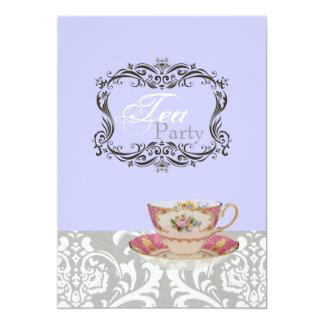 Tarjeta fiesta del té nupcial de la ducha del damasco del