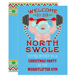 Tarjeta Fiesta divertido del gimnasio del Weightlifter de