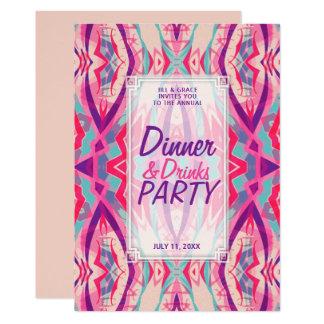 Tarjeta Fiesta elegante de las bebidas de la cena de Boho