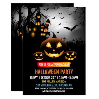 Tarjeta Fiesta oscuro de Halloween de la casa encantada de