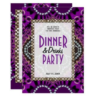 Tarjeta Fiesta púrpura de las bebidas de la cena del