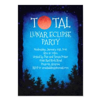Tarjeta Fiesta rojo total de la luna del eclipse lunar
