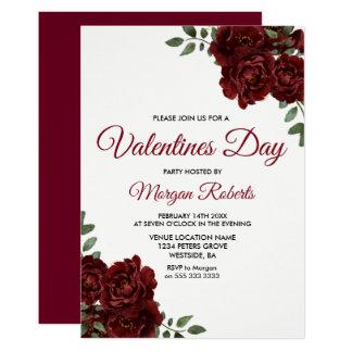 Tarjeta Fiesta romántico del día de San Valentín del rosa