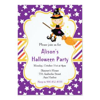 Tarjeta Fiesta rubio lindo de Halloween de la bruja