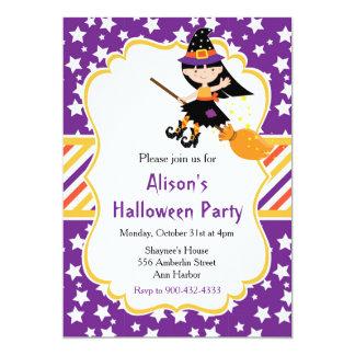 Tarjeta Fiesta trigueno lindo de Halloween de la bruja