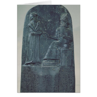 Tarjeta Figura del alivio de dios Shamash que dicta leyes