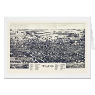 Tarjeta Findlay, mapa panorámico del OH - 1889
