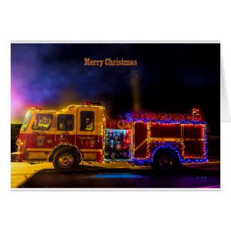 Tarjeta Firetruck del navidad