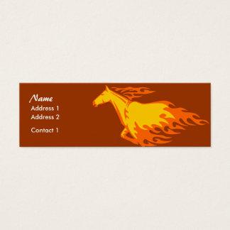 Tarjeta flaca del perfil - caballo llameante