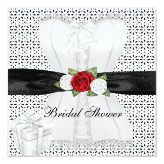 Tarjeta Flor blanca de los rosas rojos del corsé del negro