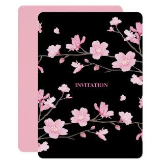 Tarjeta Flor de cerezo - negro