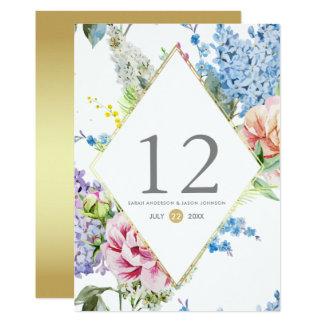 Tarjeta Flor de la acuarela del número el | de la tabla en