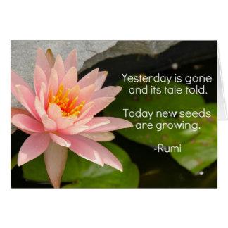 Tarjeta Flor de Lotus con la cita de Rumi en el