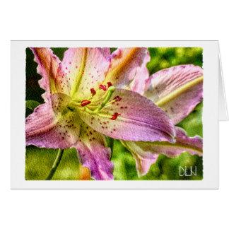 Tarjeta Flor del lirio del Stargazer/arte floral de la