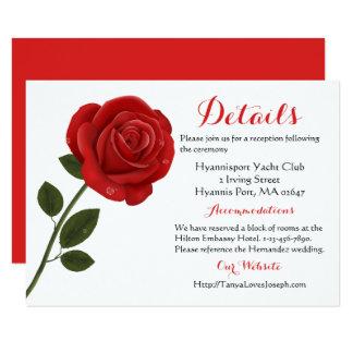 Tarjeta Flor floral del rosa rojo - banquete de boda