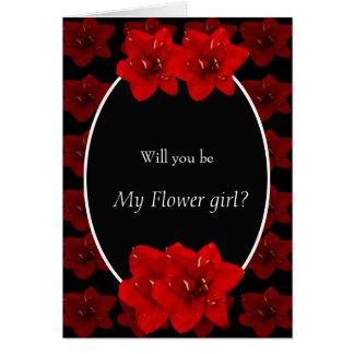 Tarjeta Flor roja del Amaryllis que casa al chica floral