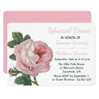 Tarjeta Flor subió ensayo rosado del boda del vintage