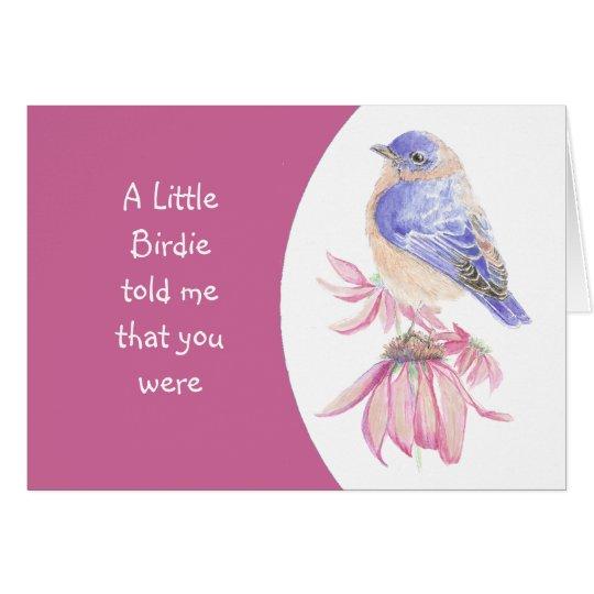Tarjeta Flor y Bluebird de encargo del rosa del cumpleaños