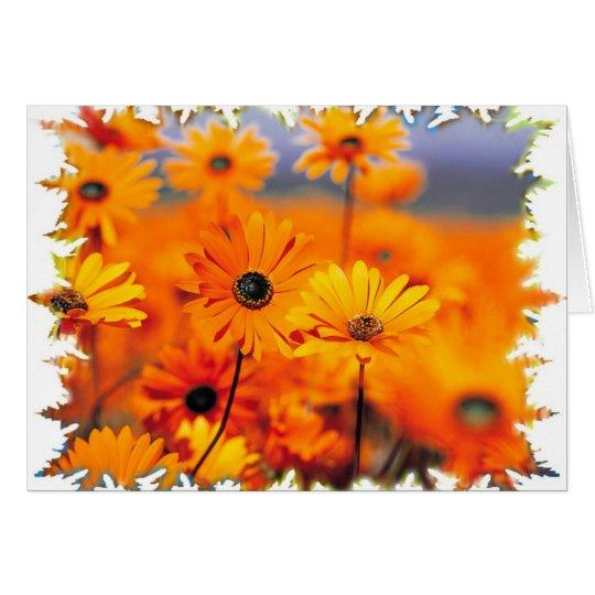 Tarjeta floral anaranjada