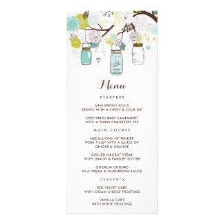 Tarjeta floral azul caprichosa del menú del boda