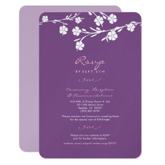 Tarjeta floral blanca de la recepción de RSVP que Invitación 8,9 X 12,7 Cm