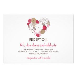 Tarjeta floral caprichosa de la recepción del anuncio personalizado