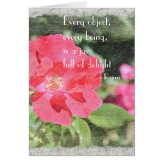 Tarjeta floral color de rosa pintada de la cita de
