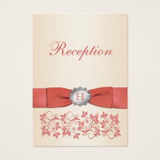 Tarjeta floral coralina de la recepción nupcial de