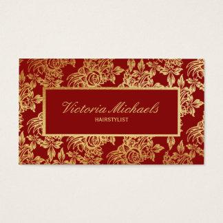 Tarjeta floral de color rojo oscuro y del oro