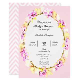 tarjeta floral de la fiesta de bienvenida al bebé