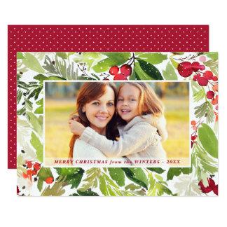 Tarjeta Tarjeta floral de la foto de la acuarela del