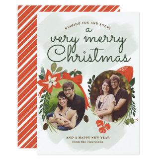 Tarjeta floral de la foto del navidad del vintage