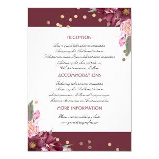 Tarjeta floral de la huésped de la información del