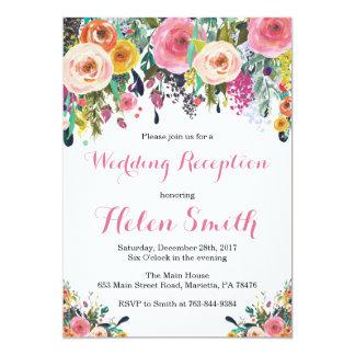 Tarjeta floral de la invitación de la recepción