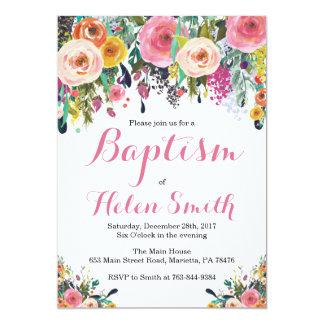 Tarjeta floral de la invitación del bautismo